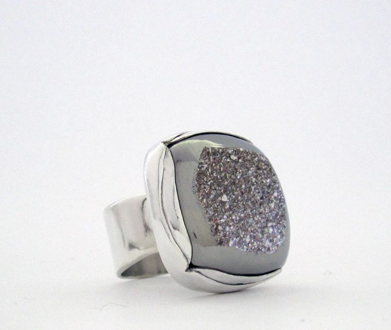 Silver Moon Drusy Ring